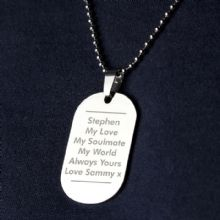 Personalised Classic Stainless Steel Dog Tag Necklace P0102T67